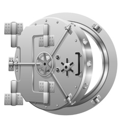 Half-open bank vault door on white vector