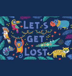 hand drawn poster with cool cartoon animals in the vector image