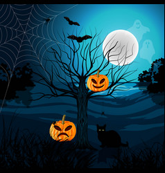 Happy halloween with black cat vector