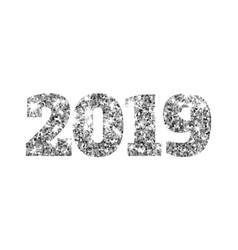 Happy new 2019 year silver glitter particles and vector