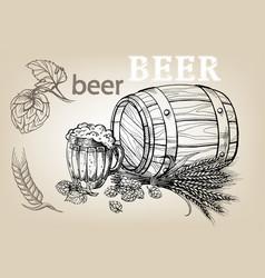 Icon with mug beer hops barrel vector
