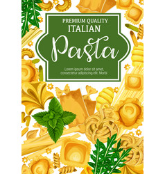 Italian pasta with herbal seasoning vector