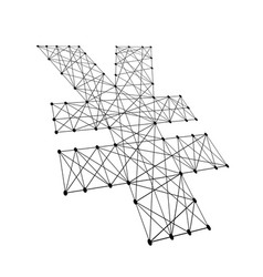 Japanese yen sign from polygonal black lines vector