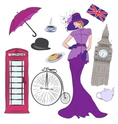 Lady and elements of London vector