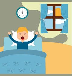 little boy waking up in a vector image