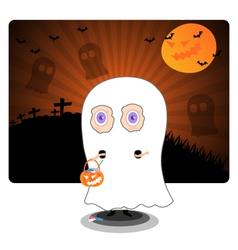 Little kid in Halloween ghost costume vector image