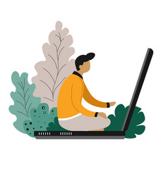 man sitting on laptop freelance and online vector image
