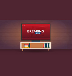 mass media breaking news banner live tv show vector image