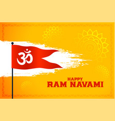 Om symbol flag for happy ram navami festival vector