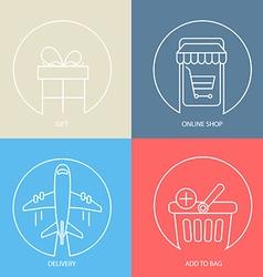Outline e-commerce web icon set vector image