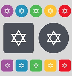 pentagram icon sign A set of 12 colored buttons vector image