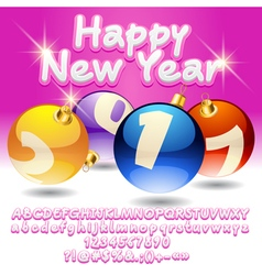 Pink Happy New Year 2017 greeting card vector image