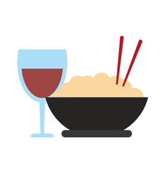 rice bowl and wine cup vector image