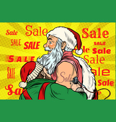 Sale elf makes santa claus tattoo vector