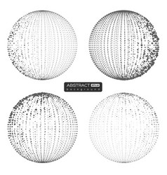 set abstract globe particles spheres vector image