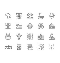 set africa line icons tooth pendant vector image