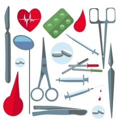 Set isolated medical items tools scissors enema vector image