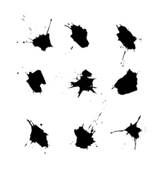 Set of ink stains on a white background vector image