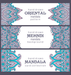 Set three horizontal cards or flyers vector
