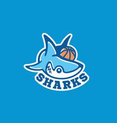 shark mascot logo vector image