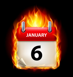 sixth january in calendar burning icon on black vector image