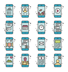 smart phone functions and apps icon set in vector image