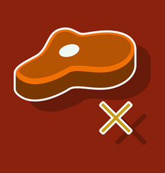 Steak sticker icon isolated on background vector