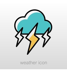 Storm cloud lightning icon meteorology weather vector