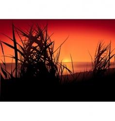 Sunset lake vector