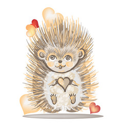 Valentines day card with a hedgehog vector