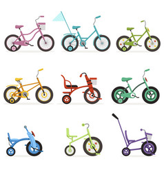 various type of kids bikes set colorful bicycles vector image