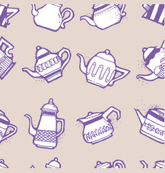 Vintage tea pots seamless pattern vector