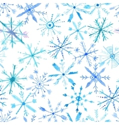 Watercolor snowflakes pattern vector image
