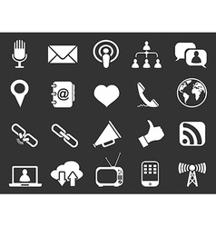 white communication icons set vector image