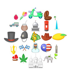 world icons set cartoon style vector image