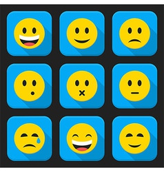 Yellow smiling faces squared app icon set vector