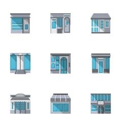 Flat style showcase icons set vector image