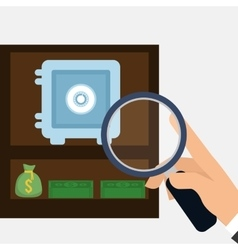 hand holding search safe box money bag vector image