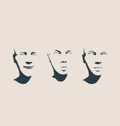 head silhouette face front view vector image