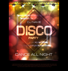 neon sign disco party poster vector image vector image