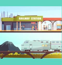 Railway station and bridge horizontal banners vector