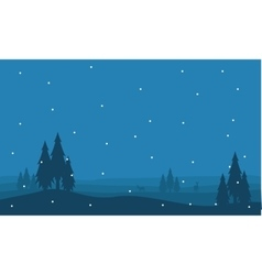 Silhouette of spruce and snow scenery vector image vector image