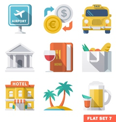 Traveling flat icons 1 vector