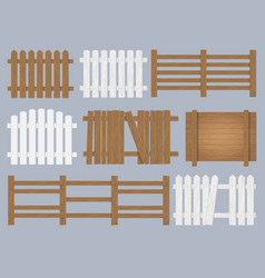 wooden fence set vector image vector image