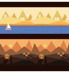 Background Seamless scenery seasons and landscapes vector image vector image