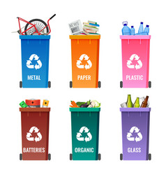 containers set for sorting garbage blue for metal vector image vector image