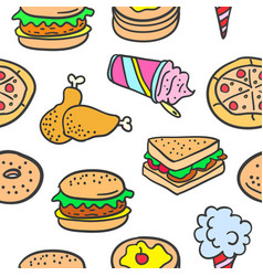 doodle of many various food vector image