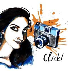 Girl ink hipster camera vector image