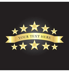 background with gold stars and ribbon vector image