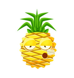 smoking pineapple emoticon cute cartoon emoji vector image vector image